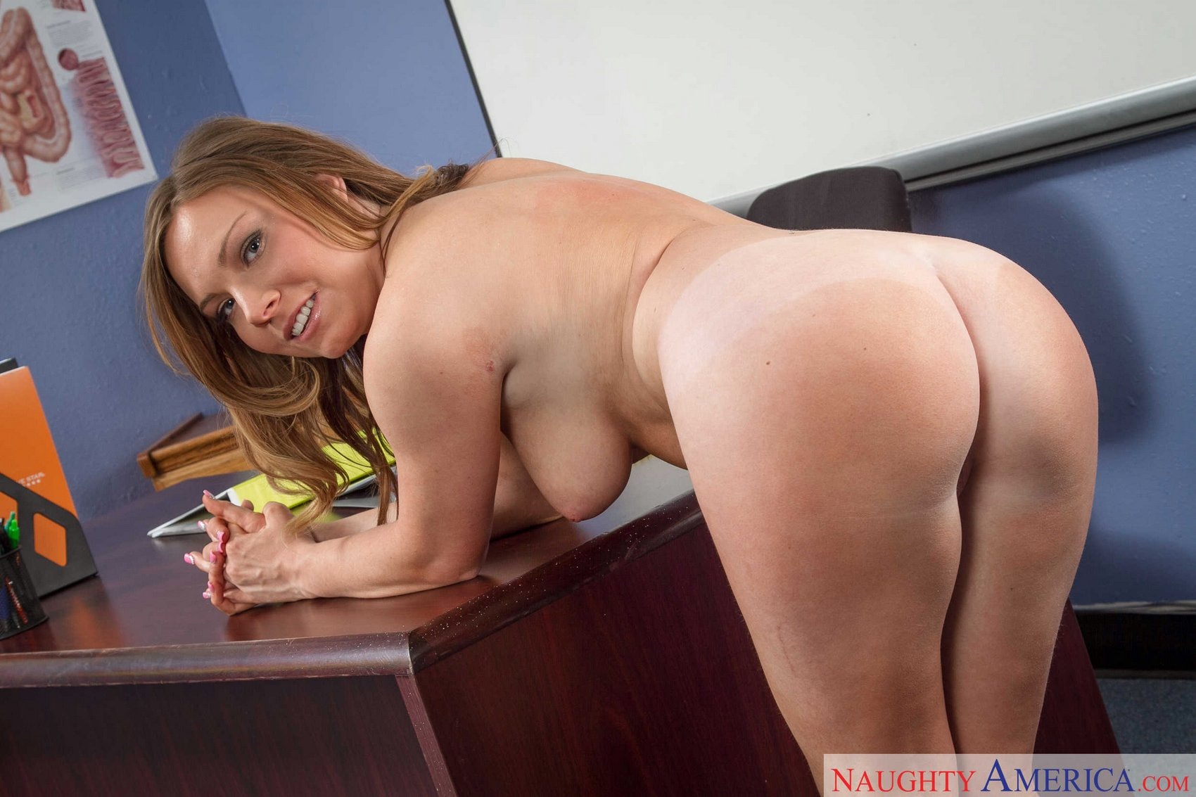 Tiff Bannister stripping and posing in the classroom.