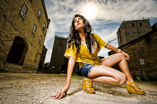 Outdoor portrait photography low angle