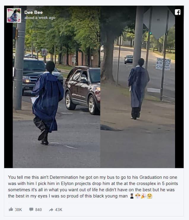 Teen walking to his high school graduation.