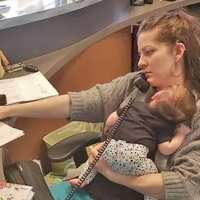 Photo of multitasking mom caring for infant at work goes viral
