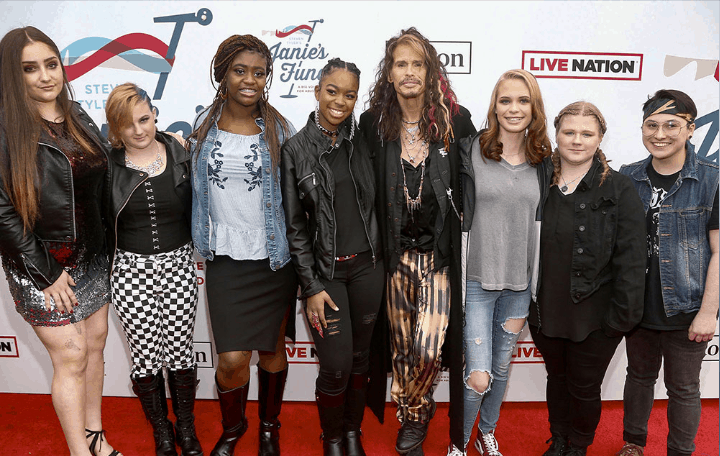 Steven Tyler and girls in the 2nd annual Janie's Fund GRAMMY Award ® Viewing Party