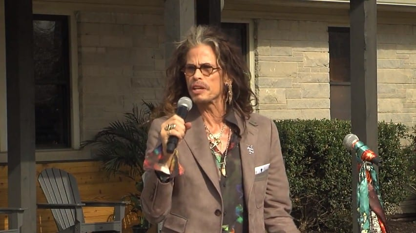 Steven Tyler during the scarf-cutting ceremony for Janie's House