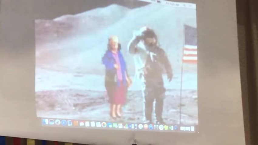Miss Frances on an altered photograph with Neil Armstrong