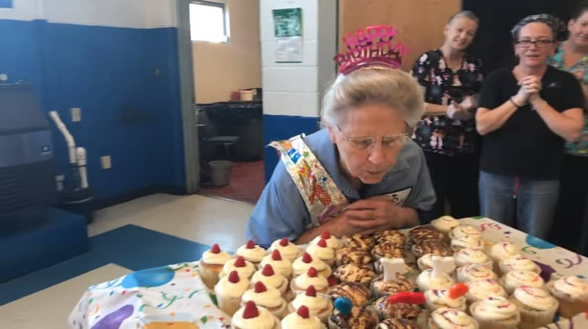 Frances Buzzard blowing out her birthday candle