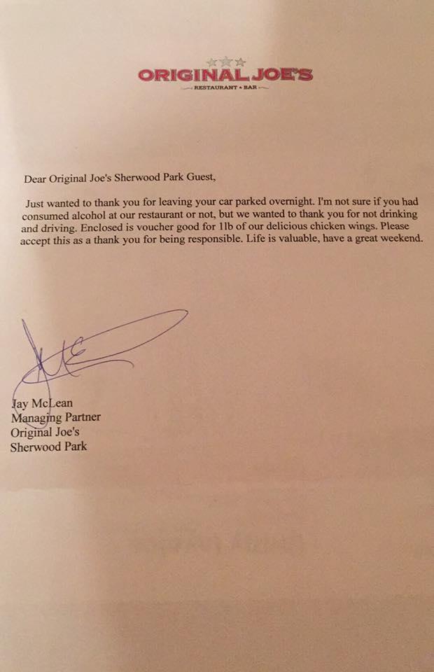 Joe McLean's letter