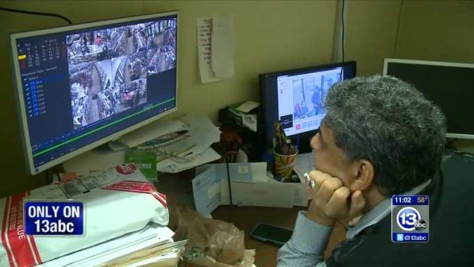 Jay checking the surveillance footage