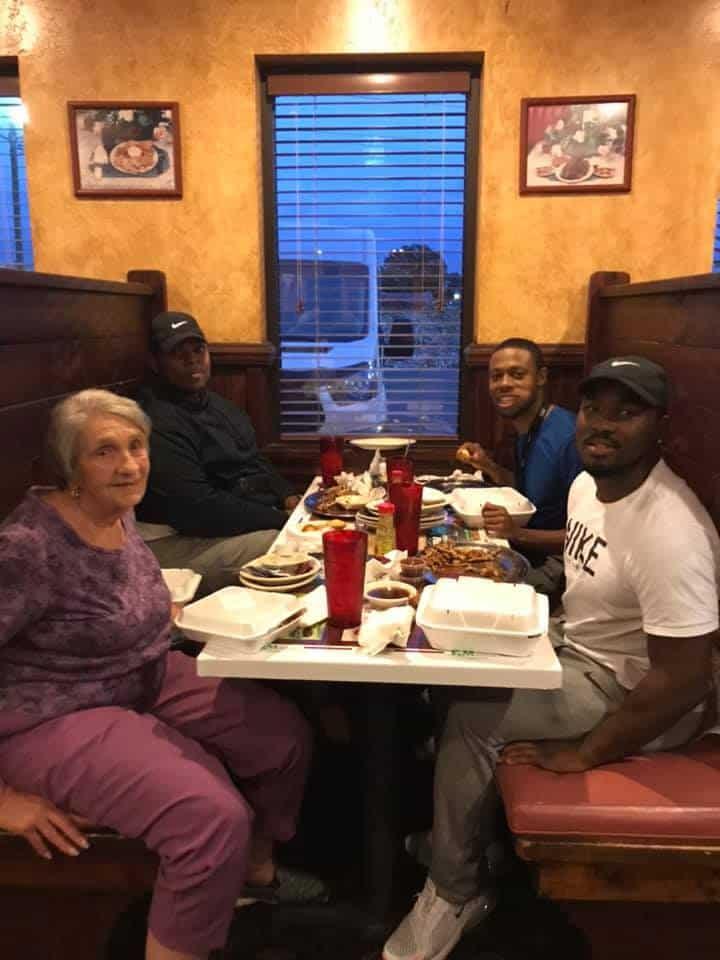 Eleanor having dinner with Jamario Howard, JaMychol Baker, and Tae Knight