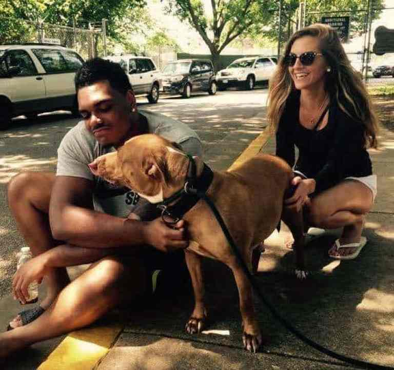 NFL player Ronnie Stanley with his girlfriend and his dog Winter