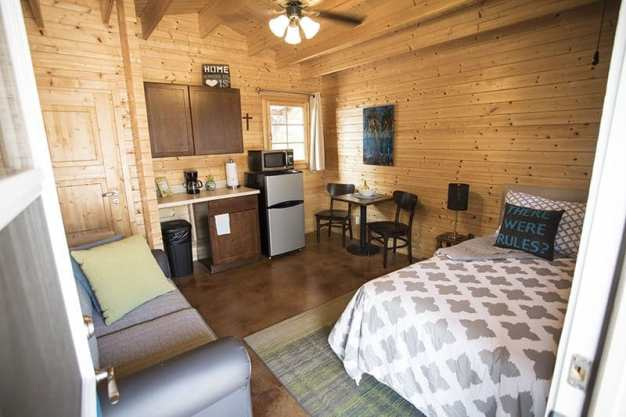 Inside a tiny home at Community First