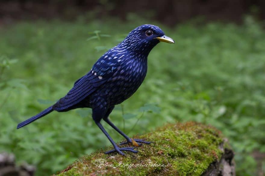 Blue felted bird