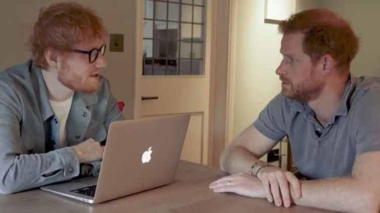 Prince Harry and Ed Sheeran talking