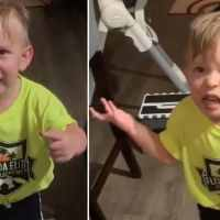 Adorably frustrated toddler upset he didn't get a goodbye kiss from mom in viral video