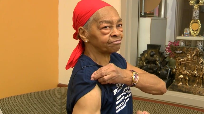 Grandma shows her muscles.