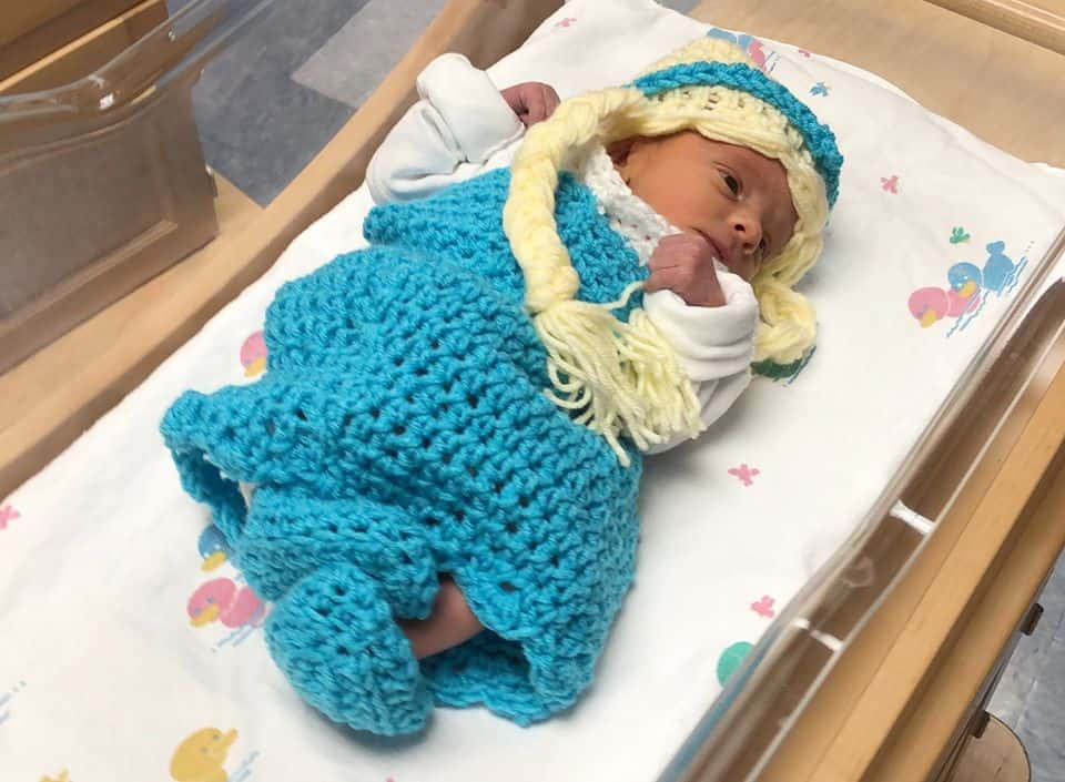 Adorable baby in Kansas maternity ward dressed as a Disney character.