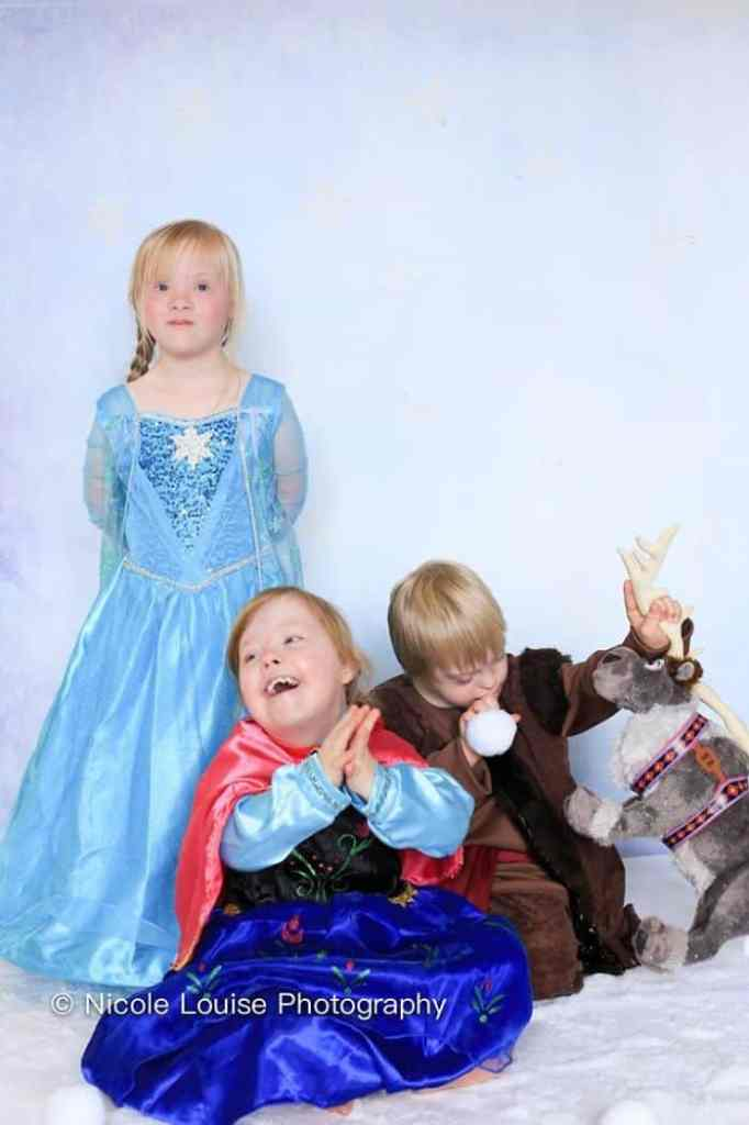 Kids with down syndrome in magical Disney characters costume.