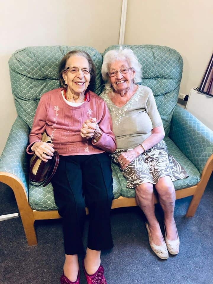 Best friends staying in the same care home.