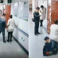 Husband transforms into 'human chair' for pregnant wife at doctor's appointment