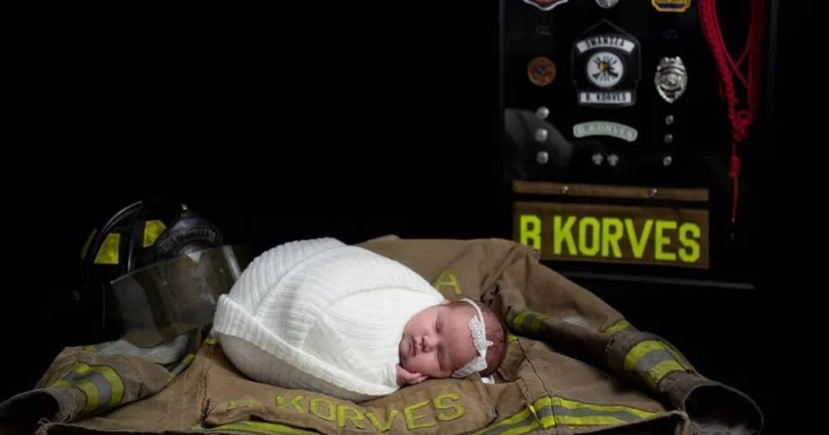 A newborn baby girl honored her late firefighter father in an emotional photo shoot - my positive outlooks