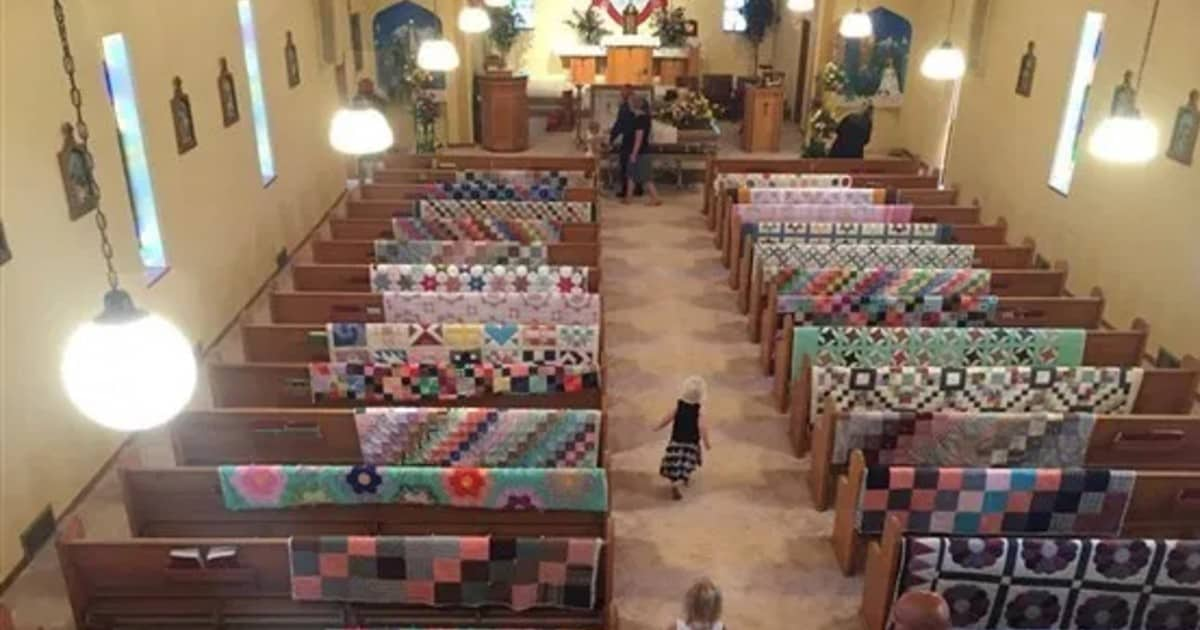 Family honors grandma's memory by displaying all of her quilts at her funeral - my positive outlooks