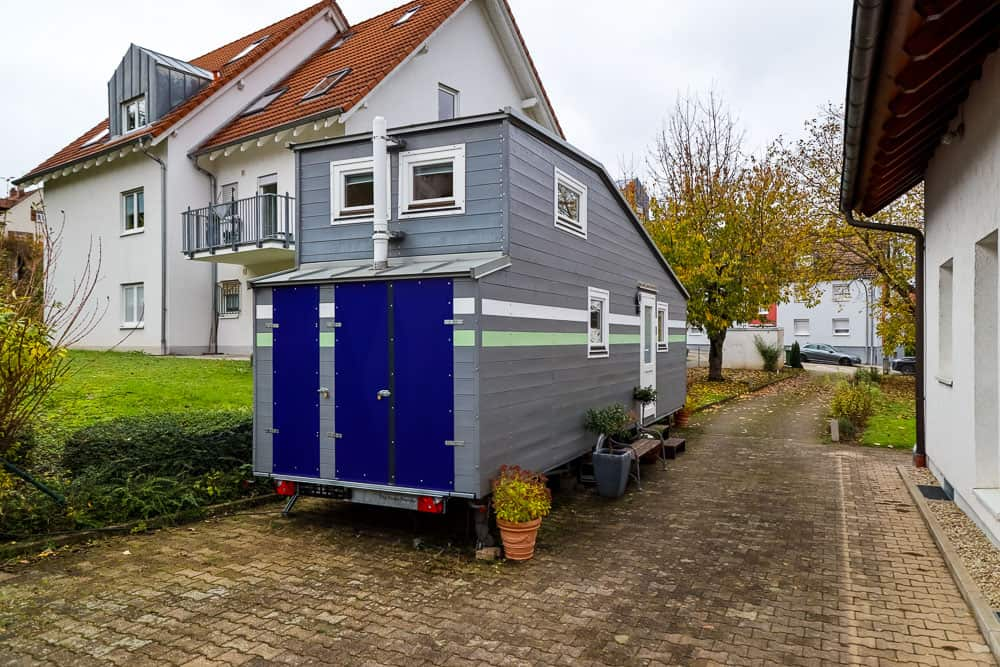 Tiny house with crazy computer set-up.