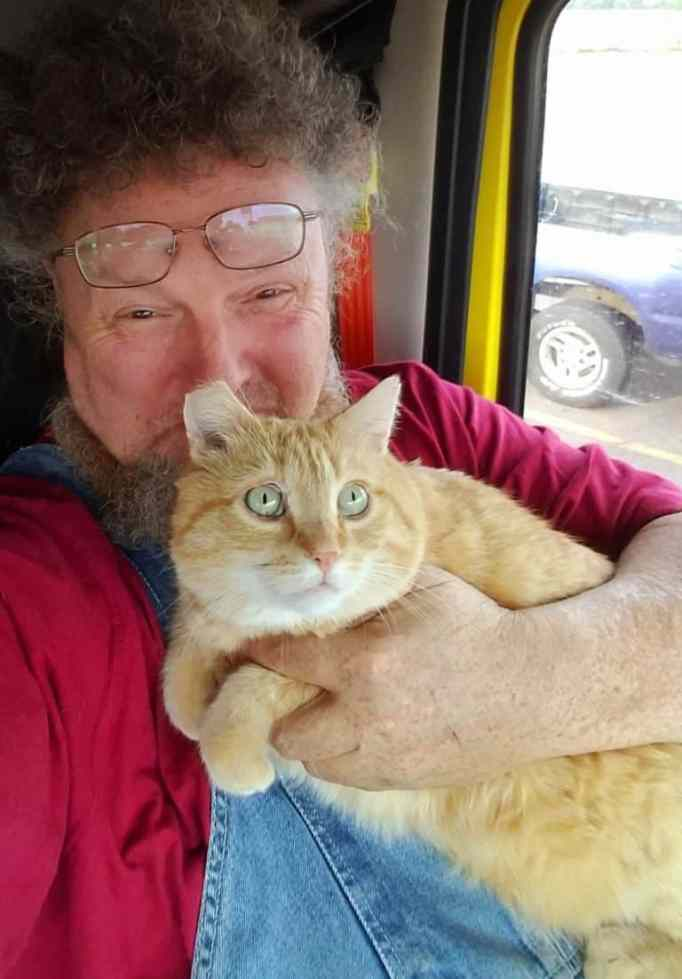 This truck driver saved by cat he adopted.