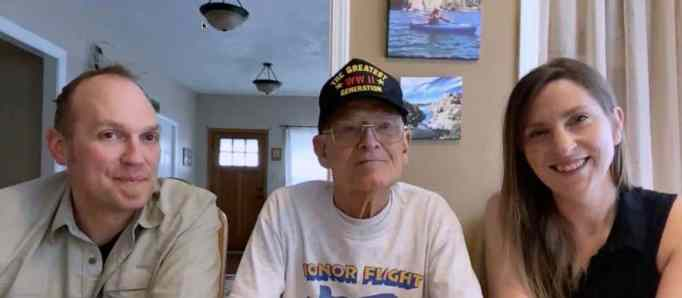 WWII veteran Bill Kelly with his granddaughter and her husband