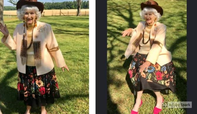 To life people's spirits, grandma wears fashion outfits.