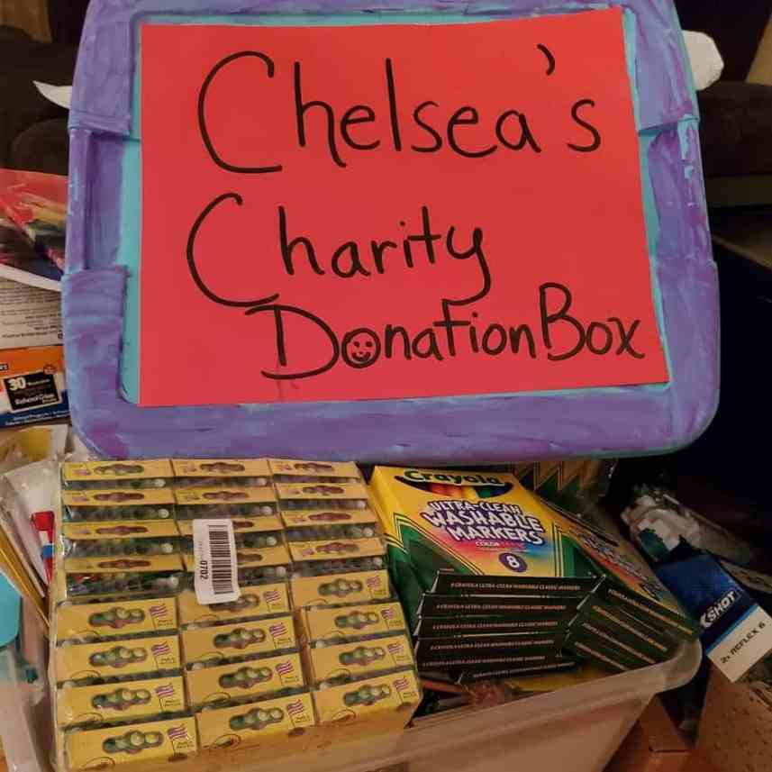 The charitable donations come with crayola etc.