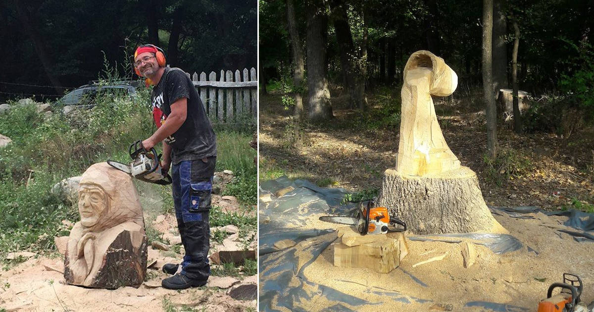 Chainsaw artist transforms rotting tree stumps into whimsical sculptures - my positive outlooks