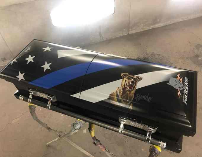 A special casket bearing his portrait