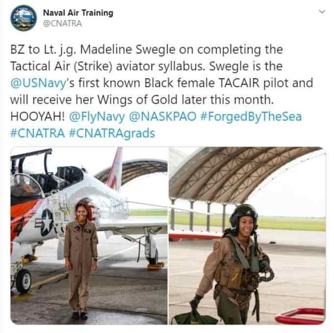 Black female fighter pilot of the US Navy.
