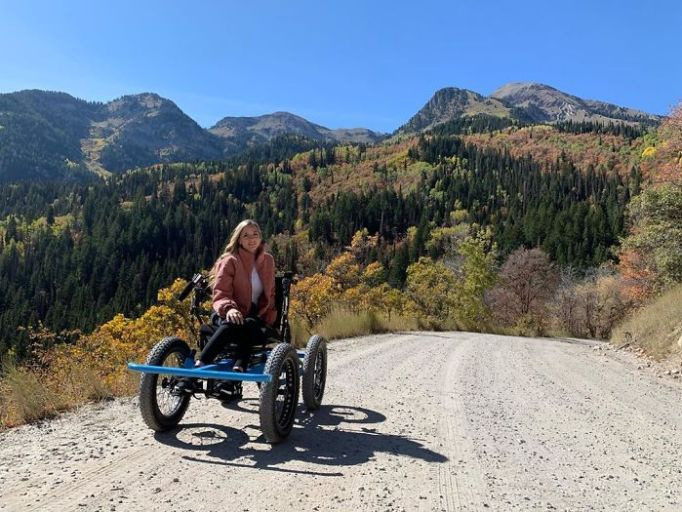 An off-road electric wheelchair.