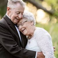 Couple wears original wedding attire in special photoshoot to celebrate 60 years of marriage
