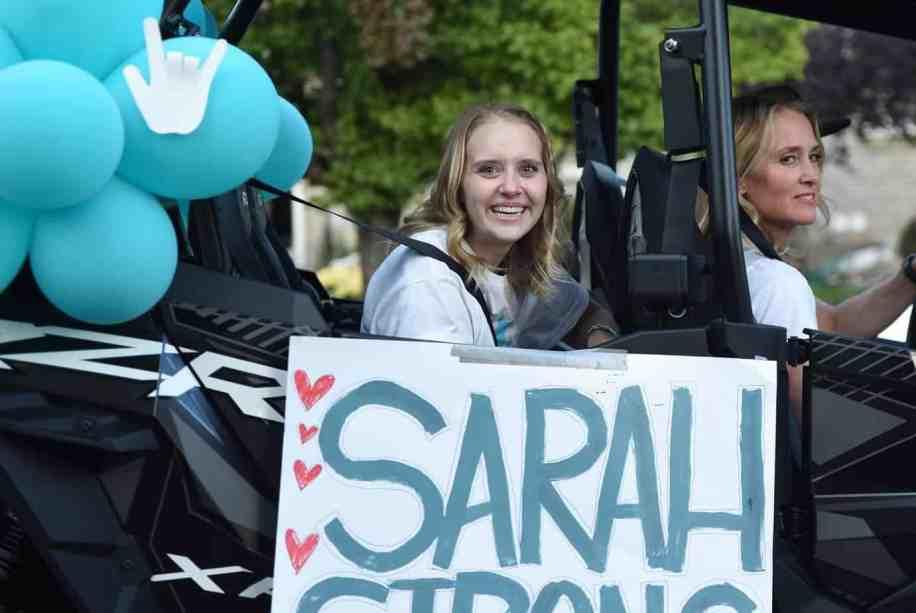 Sarah Frei during her homecoming parade
