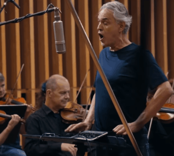 Beloved tenor Andrea Bocelli sings Amazing Grace with orchestra accompaniment.