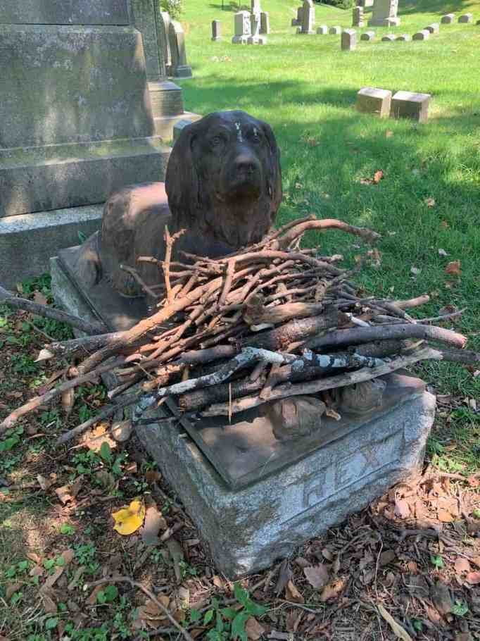 The statue of Rex the dog at Green-Wood Cemetery filled with sticks.