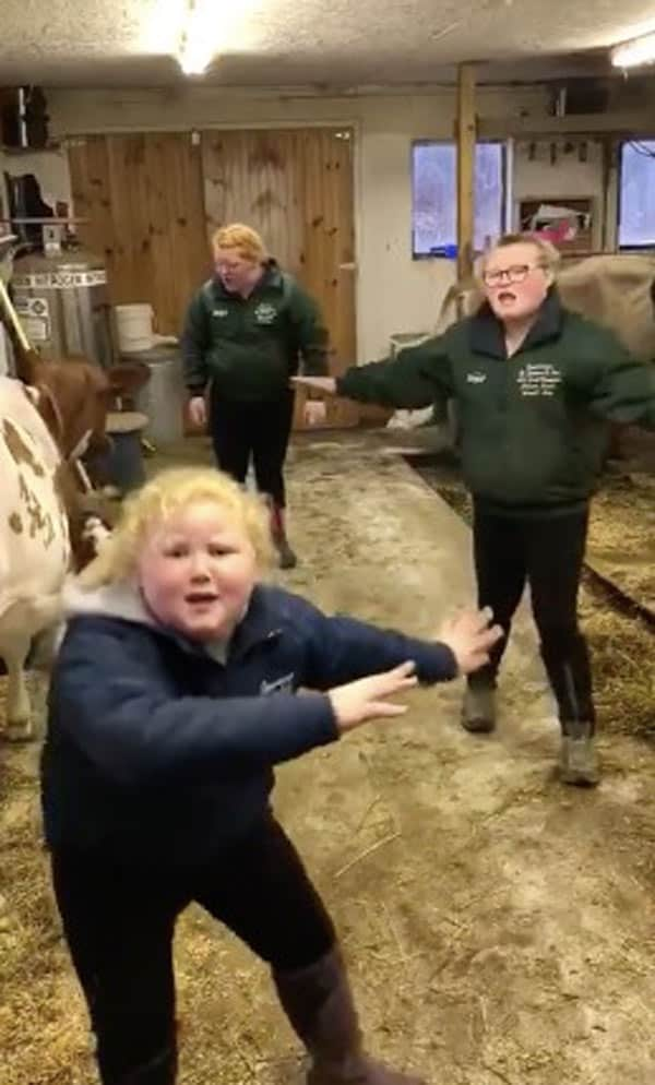 The dairy farming sisters incorporated dance moves into their performance.