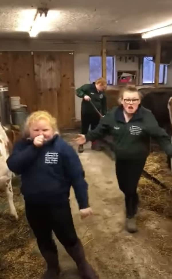 The dairy farming sisters lip-syncing while cleaning the barn.