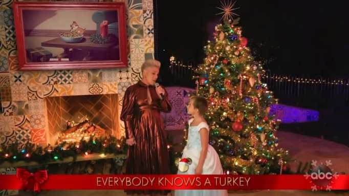 Pink and Willow singing The Christmas Song