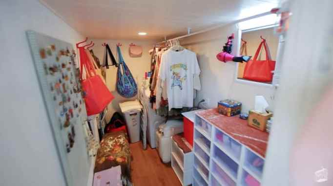 Tiny house with a walk-in closet has decent storage space.