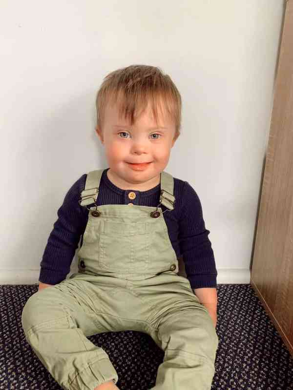 Elijah, a toddler with Down syndrome