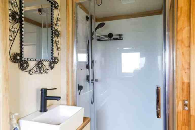 The bathroom of a tiny house truck