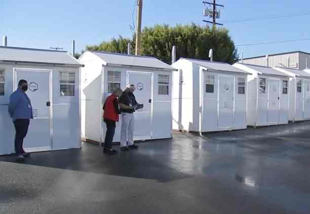 Officials at the tiny pallet homes site
