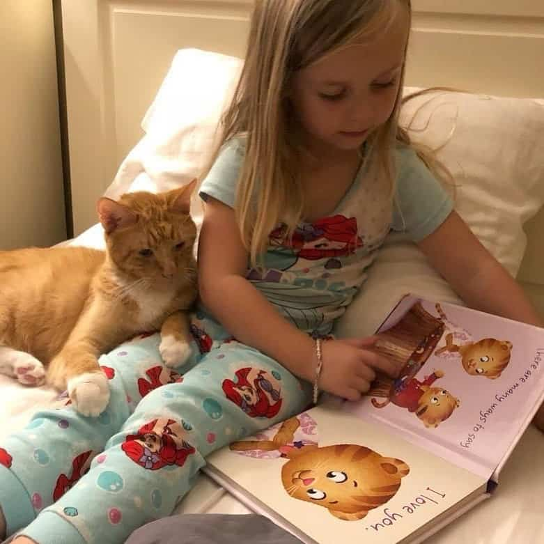 A little girl reading to her orange tabby cat