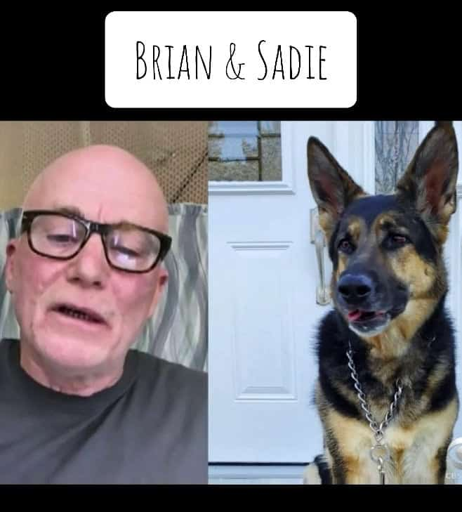 Brian Myers and Sadie, the German Shepherd who saved her owner's life during a stroke