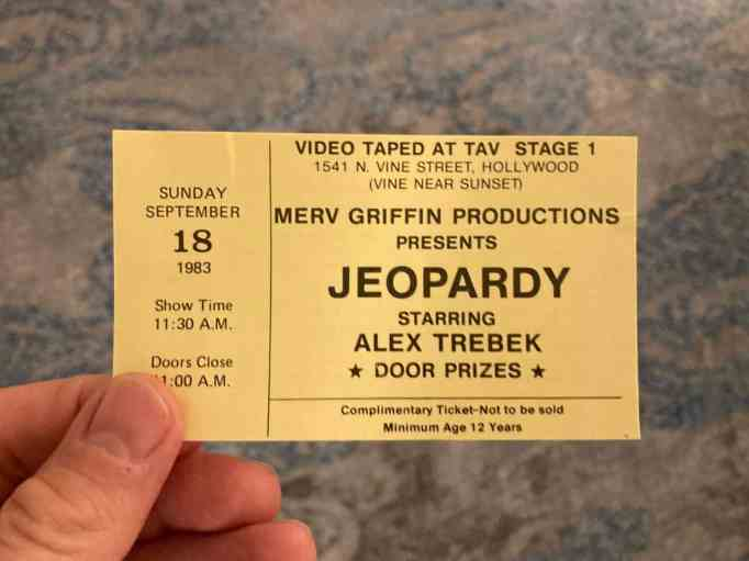 A Jeopardy! ticket from 1983
