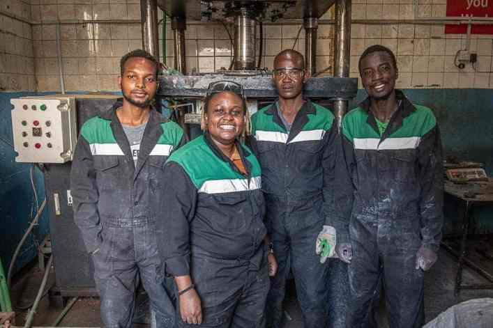 The Gjenge Makers team with a woman materials engineer member