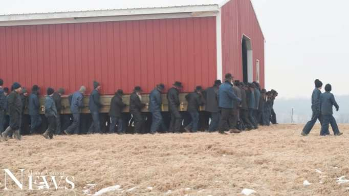Amish men moving a barn