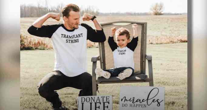 Grant and Brooks, celebrating the anniversary of their organ transplant.