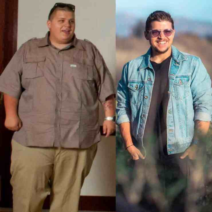 Before and after photo of John Glaude highlighting his incredible weight loss